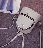 Рюкзак маленький школьный городской серый Модный Высота 20 см., фото 1