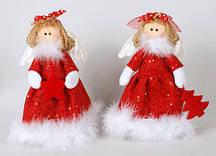 Новогодняя игрушка из ткани и пуха Ангел 18см, 2 вида