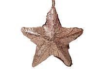 Новогодний подвесной декор Звезда из натуральных листиков бронза с блестками