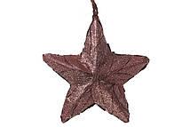 Новогодний подвесной декор Звезда из натуральных листиков, коричневый с блестками