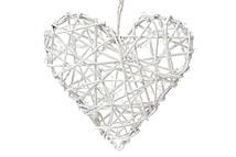 Подвесной декор Сердце из раттана, белый с блестками