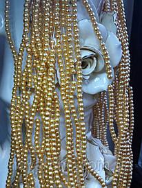 Намистини перлинні золоті діаметр 4 мм на нитці