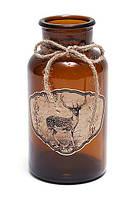 Декоративная бутылочка 15см с рисунком Олень и тесьмой
