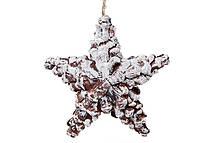 Новогодний декор подвесной Звезда заснеженная из натуральных шишек