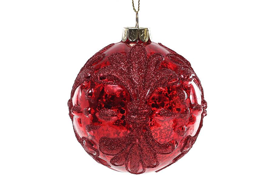 Елочный шар 8см, красный антик
