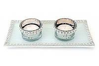Набор: 2 подсвечника + 2 свечи + стеклянная подставка 20см