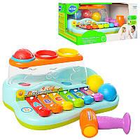 Ксилофон с шариками и молоточком JT 9199, коробка 27 см