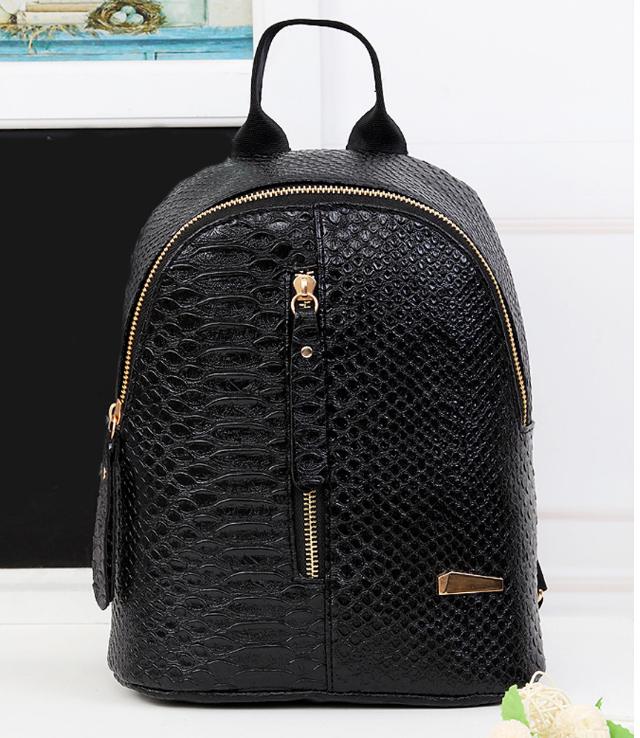 Рюкзак маленький школьный серый городской Змеиная кожа Модный Высота 25 см.