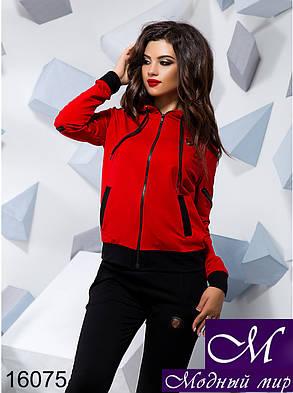 Женский спортивный костюм красный + черный (р. S, M, L) арт. 16075, фото 2