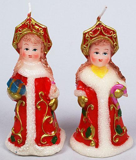Декоративная новогодняя свеча Снегурочка 11.2см, 2 вида