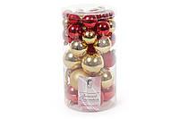 Набор елочных шаров, цвет - золото с красным, 40шт - 6см, 5см ,4см, 3см: 3шт - красный глянец, 3шт - золото глянец, 2шт - красный матовый, 3шт -