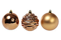 Набор елочных шаров 8см, цвет - коричневая замша, 3шт: матовый, глянец, глянец с рельефом