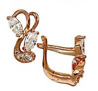 Сережки фірми ХР, колір радянського золота. Камінь: білий циркон. Висота сережки 1.5 см. ширина 8 мм