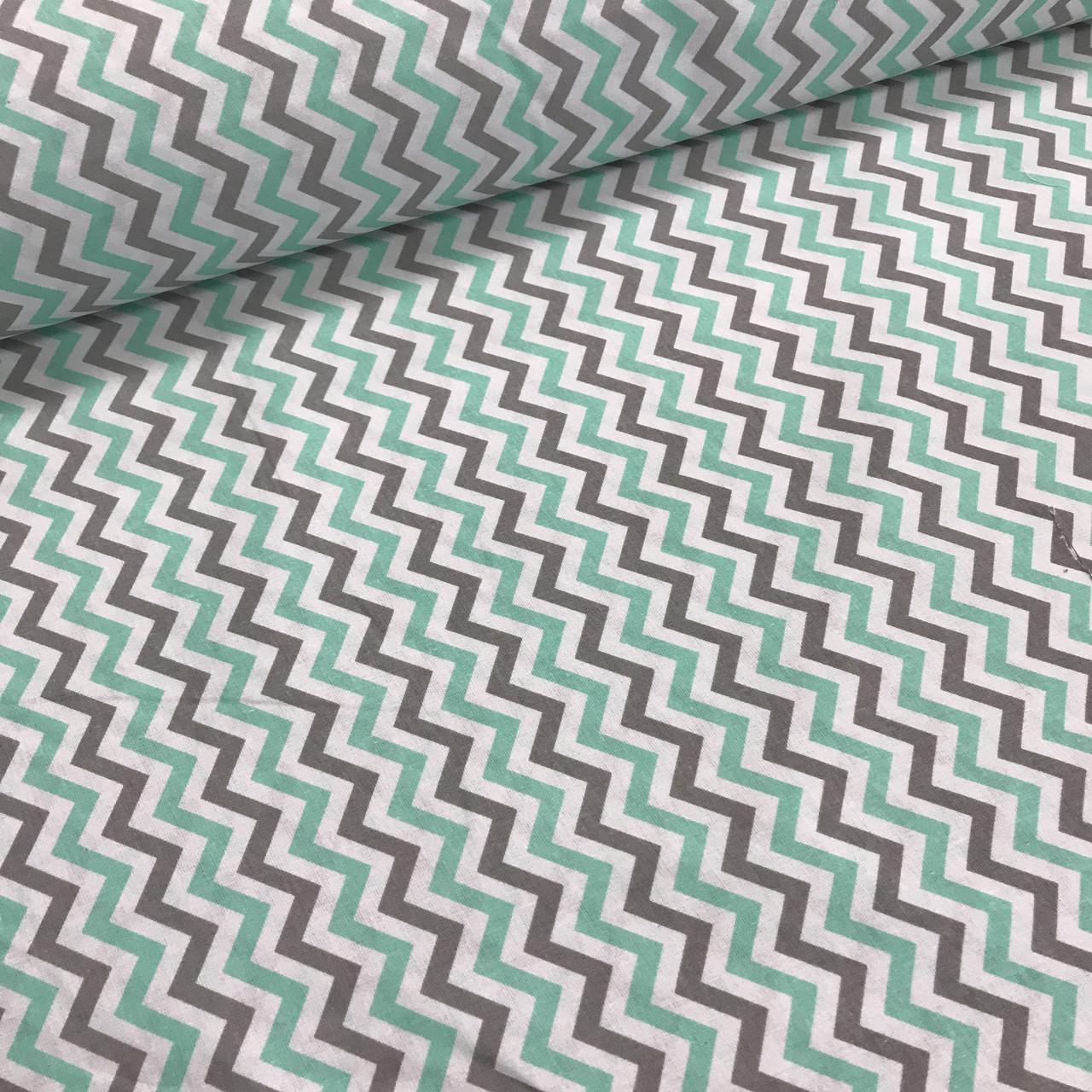 Хлопковая ткань польская зигзаг мятно-серый МЕЛКИЙ №61