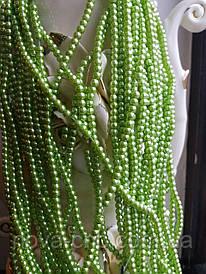 Бусины жемчужные светло-оливковые диаметр 4 мм на нитке