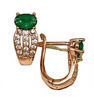 Сережки фірми ХР, колір радянського золота. Камінь: білий циркон і хризопраз. Висота сережки 1.4 см. ширина 6 мм.