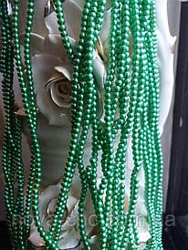 Бусины жемчужные зеленые диаметр 4 мм на нитке