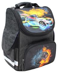 Рюкзак школьный Успех каркасный ортопедический чёрный с машиной