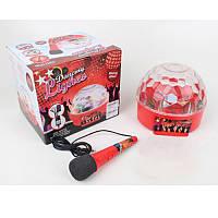Детский караоке микрофон Dancing Lightes 06053: размер 18см, подставка + 3D свет