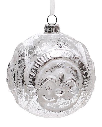 Елочный шар 8см белый с серебром