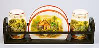Набор для специй (2предм.) + салфетница на деревянной подставке Пейзаж