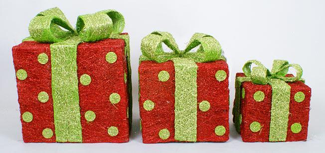 Набор декоративных подарков (3шт) с подсветкой, 20см, 25см, 30см