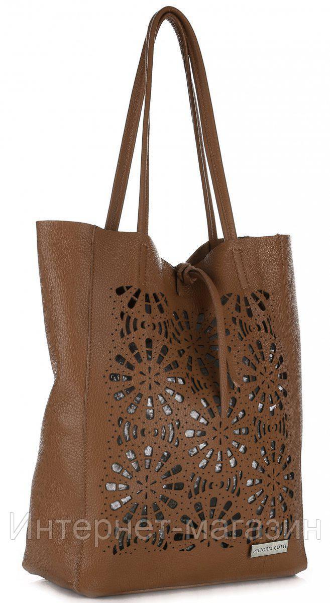 eb291373157d Элитная женская сумка из натуральной кожи, Made in Italy коричневого цвета  с вырезами в виде кружева