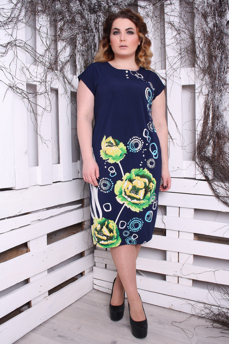 Платье большого размера Саманта Пион зеленый