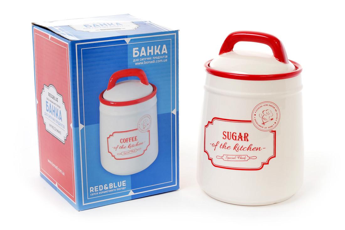 Банка керамическая Sugar 800мл для сыпучих продуктов Red&Blue