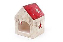 Декоративный керамический домик-подсвечник Звезда 11.5см