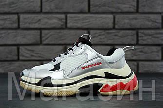 Женские кроссовки Balenciaga Triple S White/Grey (Баленсиага) белые серым