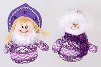 Новогодняя мягкая игрушка Снеговик и Снегурочка 13см