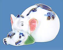 Декоративная копилка фарфоровая Слоник 11см