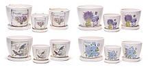 Набір квіткових горщиків (3шт) з піддонами в стилі Прованс, 4 види