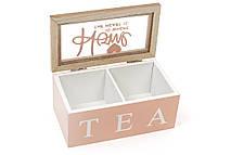 Коробка для чая деревянная со стеклянной крышкой, цвет - розовый