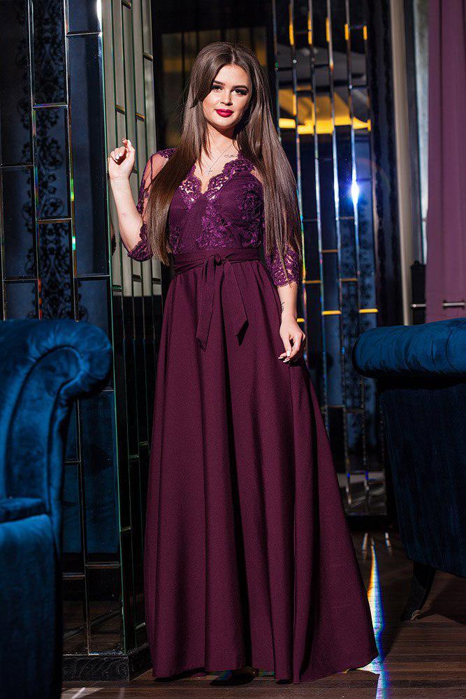 a67f0fbe8f9 Платье вечернее длинное с гипюром марсала - Оптовый интернет-магазин