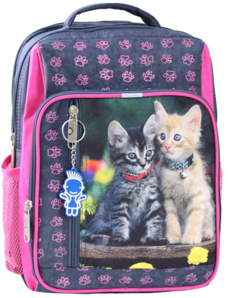 Рюкзак школьный серый с розовым Котята