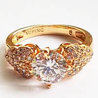 """Кольцо """"Патриция"""", позолота 18К, инкрустация фианитами. Размер 16,5. Xuping Jewelry. , фото 1"""