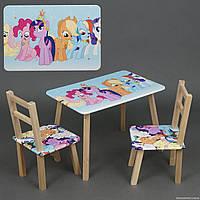 """Столик и два стульчика деревянные """"Литл пони """" С 096"""