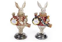 Декоративная фигура с часами Белый Кролик 21см, 2 вида