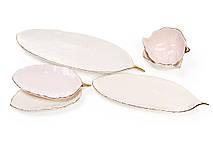 Блюдо керамическое 32см Лист, цвет - слоновой кости с золотом