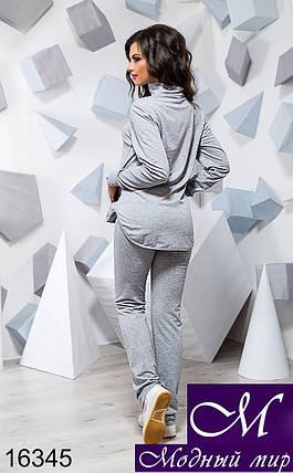 Женский светло-серый спортивный костюм без капюшона (р. 42, 44, 46) арт. 16345, фото 2