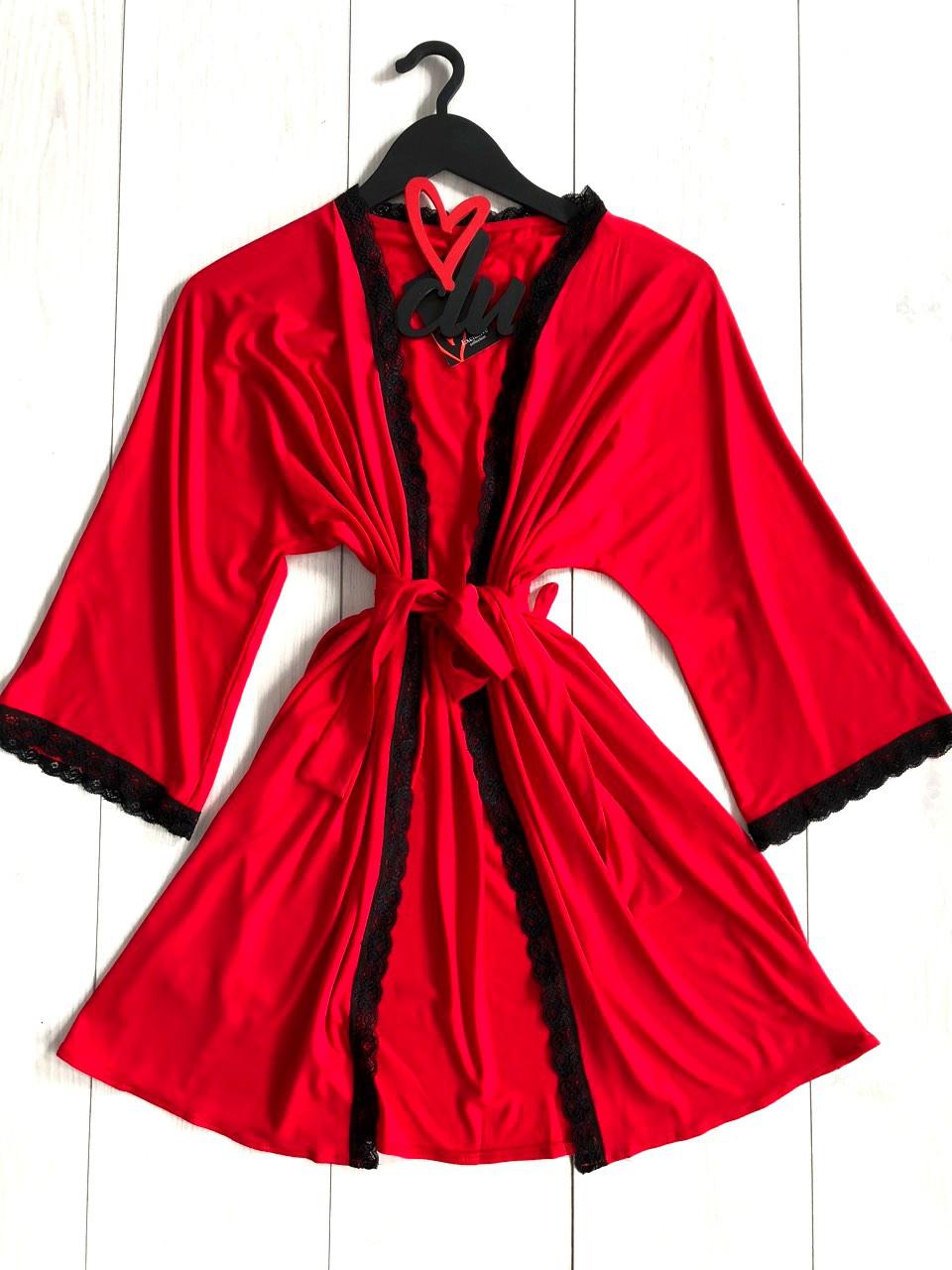 Домашняя одежда,женский красный халат ТМ Exclusive
