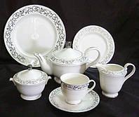Сервиз 22 предмета: 6 чашек + 6 блюдец + сахарница + молочник + чайник + тортница + 6 десертных тарелок