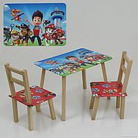 """Столик и два стульчика деревянные """"Щенячий патруль"""" С 079"""