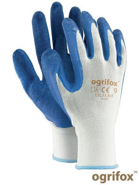 Перчатки OX-LATEKS с латексным покрытием бело-голубого цвета - REIS, 8 размер