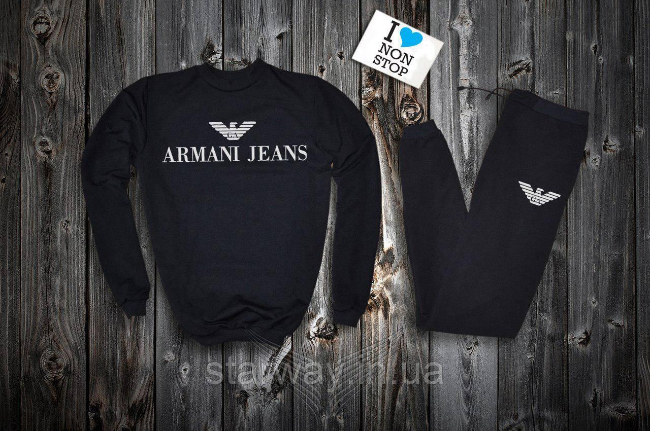 Трикотажный чёрный костюм Armani Jeans logo