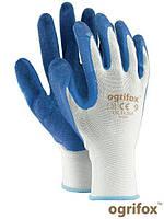 Перчатки OX-LATEKS с латексным покрытием бело-голубого цвета - REIS, 10 размер