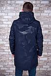 Чоловіча демісезонна куртка (подовжена), темно-синього кольору, фото 3
