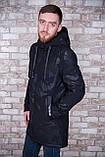 Чоловіча демісезонна куртка (подовжена), чорного кольору, фото 2